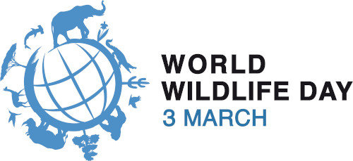 World Wildlife Day logo - Stylized globe with silhouettes of plants and animals